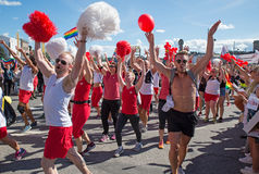 Pride parade. Stockholm, Sweden - August 1: Unidentified participants during the Stockholm pride festival parade. Official name is pride parade Stockholm and the Royalty Free Stock Photo