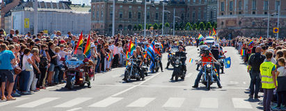 Pride parade. Stockholm, Sweden - August 1: Unidentified participants during the Stockholm pride festival parade. Official name is pride parade Stockholm and the Stock Images