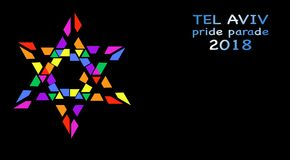 Pride Parade, Tel Aviv 2018, arc-en-ciel a coloré l'étoile de David Fond d'isolement ou noir de vecteur illustration stock