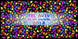 Pride Parade, Tel Aviv 2018 L'arcobaleno colora la struttura Fondo del mosaico di colore dell'illustrazione di vettore multi royalty illustrazione gratis