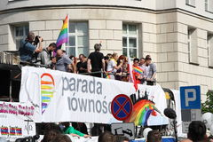 Pride Parade. WARSAW, POLAND - JUNE 15: Unidentified people take part in Pride Parade to support gay rights, on June 15, 2013 in Warsaw, Poland. Pride Parade is stock photos
