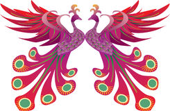 Pride of Phoenix. Two of Phoenix in red and purple make concept pride or love. Can use as pigeon. CDR file. CMYK. Layered Royalty Free Stock Image