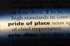 Pride of place. Word in a dictionary.  concept royalty free stock photos