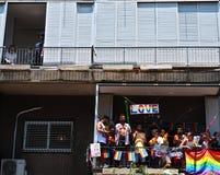 Pride and prejudice. A frame from Tel aviv love parade at pride week 2019 royalty free stock photo