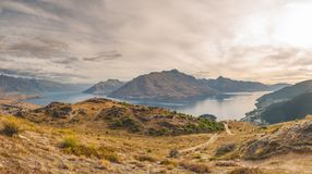 The Pride of Queenstown! Three Peaks in Queenstown Trail stock image