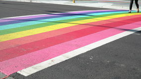 Pride Rainbow Crosswalk dolly shot, Vancouver BC 4K, UHD stock footage