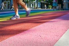 Pride Rainbow Crosswalk, Vancouver Stock Photos