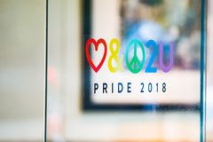 Pride 2018 sticker on the window stock photos