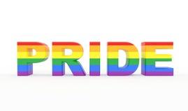 Pride Text med stolthetflaggafärger Arkivbild