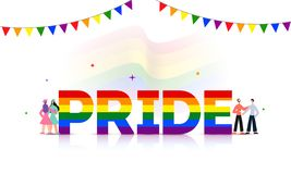 Pride text in rainbow color with gay and lesbian couples on glossy white background. Pride text in rainbow color with gay and lesbian couples on glossy white stock illustration
