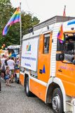 Pride truck. Gay pride at Copenhagen, year 2018. royalty free stock images