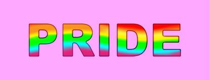 PRIDE Typografiewort-Regenbogenfarbe - LGBT-Stolzslogan gegen homosexuelle Unterscheidung auf einem rosa Hintergrund Vektor Illus vektor abbildung