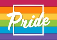 Pride typography text on square frame and colorful rainbow background vector design stock image