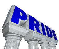Pride Word Stone Columns Proud Confident Feeling Emotion Stock Image