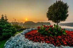 Prienai Bridge flowers royalty free stock photo