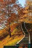Prienai view point hill steps. Prienai Lithuania viewpoint hill steps at autumn Royalty Free Stock Image