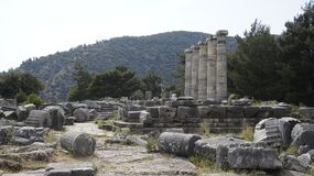 Priene the ancient Greek city. Priene, ancient city of Ionia about 6 miles 10 km north of the Menderes Maeander River and 10 miles 16 km inland from the Aegean royalty free stock image