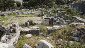 Priene the ancient Greek city. Priene, ancient city of Ionia about 6 miles 10 km north of the Menderes Maeander River and 10 miles 16 km inland from the Aegean royalty free stock images