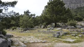 Priene the ancient Greek city. Priene, ancient city of Ionia about 6 miles 10 km north of the Menderes Maeander River and 10 miles 16 km inland from the Aegean royalty free stock photo