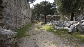 Priene the ancient Greek city. Priene, ancient city of Ionia about 6 miles 10 km north of the Menderes Maeander River and 10 miles 16 km inland from the Aegean stock image