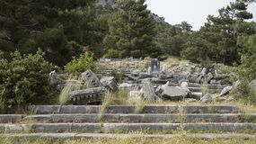Priene the ancient Greek city. Priene, ancient city of Ionia about 6 miles 10 km north of the Menderes Maeander River and 10 miles 16 km inland from the Aegean royalty free stock photography