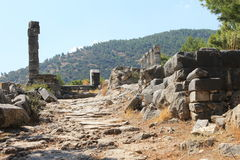 Priene ruins of an ancient antique city Royalty Free Stock Photos