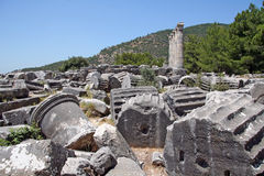 Priene ruins. Priene was an ancient ancient Greek city of Ionia.  It was formerly on the sea coast but today, after several centuries of changes in the landscape Stock Photos