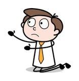 Prier - illustration d'Employee Cartoon Vector d'homme d'affaires de bureau illustration libre de droits