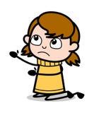 Prier - illustration de l'adolescence de vecteur de rétro fille de bande dessinée illustration libre de droits