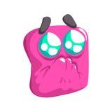 Prier l'autocollant d'isolement coloré d'Emoji de bande dessinée de place de vecteur émotif drôle rose de visage illustration stock