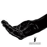 Prier la main, illustration noire et blanche détaillée de vecteur illustration libre de droits
