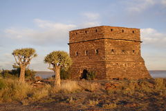 Prieska Fort and quiver trees. Prieska, South Africa. this fort was built by the British during the Anglo-Boer war not realizing that the stone used to build Royalty Free Stock Photo