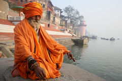 The Priest. February 11,2012 Benaras,Uttar Pradesh,India,Asia- A priest doing meditation on a ghats of varanasi royalty free stock photography