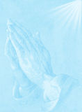 Priest. Two hands on blue background. Priest Royalty Free Stock Photos