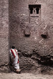 Priest at ancient christian orthodox church in lalibela ethiopia Royalty Free Stock Image