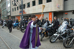 Priest blessing for motorcycles Royalty Free Stock Image