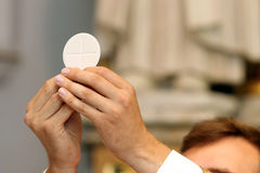 Priest celebrate a mass at the church Royalty Free Stock Photos