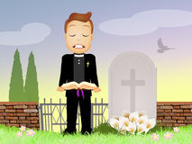 Priest celebrates funeral Stock Photo