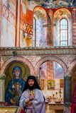 Priest in ceremony, Gelati monastery, Georgia royalty free stock image