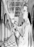 Priest with chalice in Church. A priest holding a chalice inside a church. There is light emanating from the chalice. Also, the columns of the church do not stock illustration