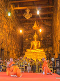 Priest is chanting  in Wat Suthat Thep Wararam Royalty Free Stock Images