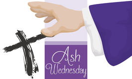 Priest Doing the Cross Signal in Ash Wednesday, Vector Illustration. Banner with the hand of priest doing the cross signal in Ash Wednesday celebration Stock Photo