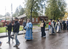 Priest doing the offering with believers in suzdal,russian federation Royalty Free Stock Images