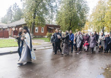 Priest doing the offering with believers in suzdal,russian federation Royalty Free Stock Photos