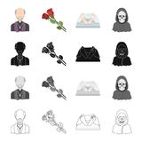 A priest, flowers for a funeral, a deceased person, an image of death. Funeral ceremony set collection icons in cartoon. Black monochrome outline style vector Stock Photo