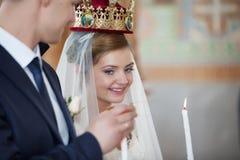 Wedding ceremony in church Stock Image