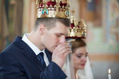 Wedding ceremony in church Royalty Free Stock Photo