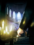 Priest killer. Inside a church or cathedral. Close view to the arm of a man with a gun in his hand, illuminated by several candles offered as redemption for sins vector illustration
