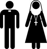 Priest and nun pictogram Royalty Free Stock Photography