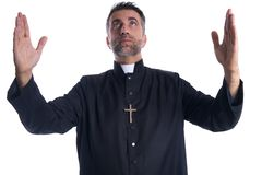 Priest open arms blessing praying God. Gesture isolated stock photos